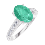 Ring Create 169307 White gold 18 carats - Emerald Oval 1 Carats - Setting Diamond white