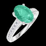 Ring Create 169307 Witgoud 18 karaat - Smaragd Ovaal 1 Karaat - Setting Diamant