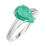 Ring Create 169404 White gold 9 carats - Emerald Pear 1 Carats