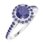 Ring Create 170624 White gold 9 carats - Blue Sapphire round 0.5 Carats - Halo Blue Sapphire - Setting Blue Sapphire