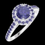 Ring Create 170624 Witgoud 9 karaat - Blauwe saffier rond 0.5 Karaat - Halo Blauwe saffier - Setting Blauwe saffier