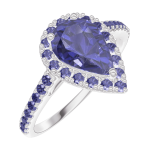 Ring Create 170816 White gold 9 carats - Blue Sapphire Pear 0.5 Carats - Halo Blue Sapphire - Setting Blue Sapphire