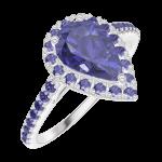 Ring Create 170816 Witgoud 9 karaat - Blauwe saffier Peer 0.5 Karaat - Halo Blauwe saffier - Setting Blauwe saffier