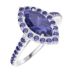Ring Create 170864 White gold 9 carats - Blue Sapphire Marquise 0.5 Carats - Halo Blue Sapphire - Setting Blue Sapphire