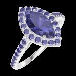 Ring Create 170864 Witgoud 9 karaat - Blauwe saffier Markies 0.5 Karaat - Halo Blauwe saffier - Setting Blauwe saffier