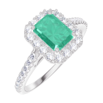 Ring Create 170967 White gold 18 carats - Emerald Baguette 0.5 Carats - Halo Diamond white - Setting Diamond white