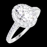 Ring Create 190152 White gold 9 carats - Laboratory Diamond Oval 0.5 Carats - Halo Diamond white - Setting Diamond white