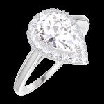 Ring Create 190196 Witgoud 9 karaat - Laboratorium diamant Peer 0.5 Karaat - Halo Diamant