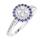 Ring Create 211439 White gold 18 carats - Cluster of natural diamonds round equivalent 0.5 - Halo Blue Sapphire - Setting Diamond white