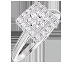 Ring Create 211451 White gold 18 carats - Cluster of natural diamonds Princess equivalent 0.5 - Halo Diamond white
