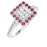 Ring Create 211471 Weißgold 750/-(18Kt) - Pavé aus natürlichen Diamanten Prinzess entsprechend 0.5 - Halo Rubin - Fassung Diamant