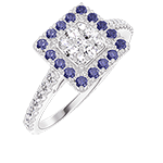 Ring Create 211487 White gold 18 carats - Cluster of natural diamonds Princess equivalent 0.5 - Halo Blue Sapphire - Setting Diamond white