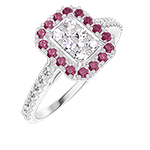 Ring Create 211519 White gold 18 carats - Cluster of natural diamonds Baguette equivalent 0.5 - Halo Ruby - Setting Diamond white
