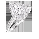 Ring Create 211595 Witgoud 18 karaat - Cluster van natuurlijke diamantent Peer gelijkwaardig 0.5 - Halo Diamant