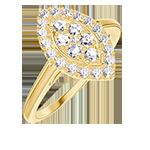 Ring Create 211641 Geelgoud 18 karaat - Cluster van natuurlijke diamantent Markies gelijkwaardig 0.5 - Halo Diamant