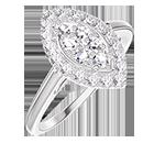 Ring Create 211643 Witgoud 18 karaat - Cluster van natuurlijke diamantent Markies gelijkwaardig 0.5 - Halo Diamant