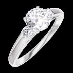 Ring Create Engagement 162423 Wit goud 18 karaat - Natuurlijke diamant Rond 0.5 Karaat - Aanleunende edelstenen Natuurlijke diamant