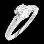 Ring Create Engagement 162427 Wit goud 18 karaat - Natuurlijke diamant Rond 0.5 Karaat - Aanleunende edelstenen Natuurlijke diamant - Setting Natuurlijke diamant