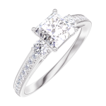 Ring Create Engagement 162527 Wit goud 18 karaat - Natuurlijke diamant Prinses 0.5 Karaat - Aanleunende edelstenen Natuurlijke diamant - Setting Natuurlijke diamant