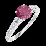 Ring Create Engagement 163028 Wit goud 9 karaat - Robijn Rond 0.5 Karaat - Aanleunende edelstenen Natuurlijke diamant - Setting Natuurlijke diamant