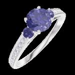 Ring Create Engagement 163668 Wit goud 9 karaat - Blauwe saffier Rond 0.5 Karaat - Aanleunende edelstenen Blauwe saffier - Setting Natuurlijke diamant