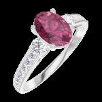 Ring Create Engagement 165728 Wit goud 9 karaat - Robijn Ovaal 0.7 Karaat - Aanleunende edelstenen Natuurlijke diamant - Setting Natuurlijke diamant