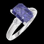 Ring Create Engagement 168624 Wit goud 9 karaat - Blauwe saffier Rechthoekig 1 Karaat - Aanleunende edelstenen Natuurlijke diamant