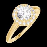 Ring Create Engagement 170001 Geel goud 18 karaat - Natuurlijke diamant Rond 0.5 Karaat - Halo Natuurlijke diamant