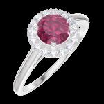 Ring Create Engagement 170292 Wit goud 9 karaat - Robijn Rond 0.5 Karaat - Halo Natuurlijke diamant