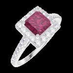 Ring Create Engagement 170344 Wit goud 9 karaat - Robijn Prinses 0.5 Karaat - Halo Natuurlijke diamant - Setting Natuurlijke diamant