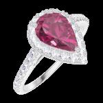 Ring Create Engagement 170488 Wit goud 9 karaat - Robijn Peer 0.5 Karaat - Halo Natuurlijke diamant - Setting Natuurlijke diamant
