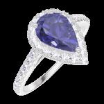 Ring Create Engagement 170776 Wit goud 9 karaat - Blauwe saffier Peer 0.5 Karaat - Halo Natuurlijke diamant - Setting Natuurlijke diamant