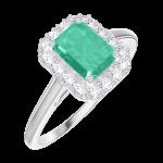 Ring Create Engagement 170964 Wit goud 9 karaat - Smaragd Rechthoekig 0.5 Karaat - Halo Natuurlijke diamant
