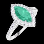 Ring Create Engagement 171112 Wit goud 9 karaat - Smaragd Markies 0.5 Karaat - Halo Natuurlijke diamant - Setting Natuurlijke diamant