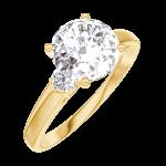 Ring Create Engagement 187222 Geel goud 9 karaat - Laboratorium diamant Rond 1 Karaat - Aanleunende edelstenen Natuurlijke diamant