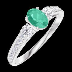Anello Create 162128 Oro bianco 9 carati - Smeraldo Ovale 0.3 Carati - Pietre laterali Diamante - Incastonatura Diamante