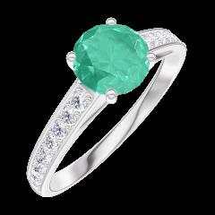 Anello Create 166608 Oro bianco 9 carati - Smeraldo Rotondo 0.7 Carati - Incastonatura Diamante