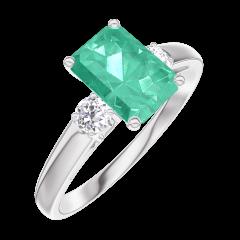 Anello Create 166824 Oro bianco 9 carati - Smeraldo Rettangolo 0.7 Carati - Pietre laterali Diamante