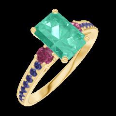 Anello Create 166854 Oro giallo 9 carati - Smeraldo Rettangolo 0.7 Carati - Pietre laterali Rubino - Incastonatura Zaffiro blu