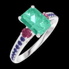 Anello Create 166856 Oro bianco 9 carati - Smeraldo Rettangolo 0.7 Carati - Pietre laterali Rubino - Incastonatura Zaffiro blu