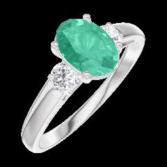 Anello Create 166924 Oro bianco 9 carati - Smeraldo Ovale 0.7 Carati - Pietre laterali Diamante