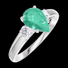 Anello Create 167024 Oro bianco 9 carati - Smeraldo Goccia 0.7 Carati - Pietre laterali Diamante