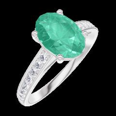 Anello Create 169308 Oro bianco 9 carati - Smeraldo Ovale 1 Carati - Incastonatura Diamante