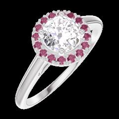 Anello Create 170019 Oro bianco 18 carati - Diamante Rotondo 0.5 Carati - Halo Rubino