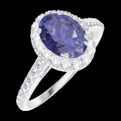 Anello Create 170728 Oro bianco 9 carati - Zaffiro blu Ovale 0.5 Carati - Halo Diamante - Incastonatura Diamante