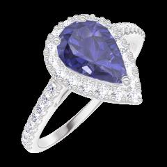 Anello Create 170776 Oro bianco 9 carati - Zaffiro blu Goccia 0.5 Carati - Halo Diamante - Incastonatura Diamante