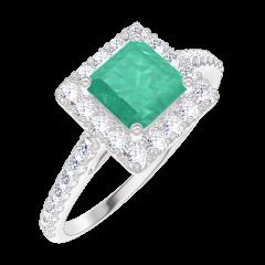 Anello Create 170920 Oro bianco 9 carati - Smeraldo Principessa 0.5 Carati - Halo Diamante - Incastonatura Diamante