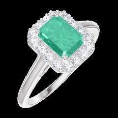 Anello Create 170964 Oro bianco 9 carati - Smeraldo Rettangolo 0.5 Carati - Halo Diamante