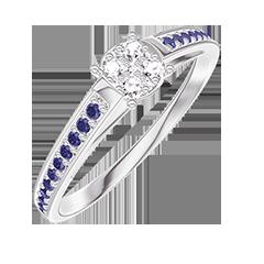 Anello Create 209615 Oro bianco 18 carati - Cluster di diamanti naturali rotondo equivalente 0.5 - Incastonatura Zaffiro blu