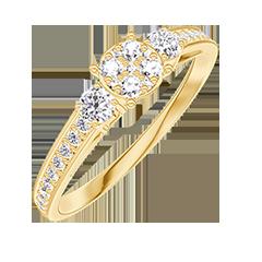Anello Create 209625 Oro giallo 18 carati - Cluster di diamanti naturali rotondo equivalente 0.5 - Pietre laterali Diamante - Incastonatura Diamante